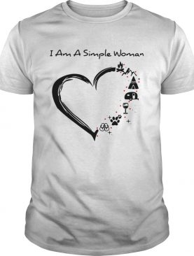 I am a simple woman I love camping wine paw dog and flip flop shirt