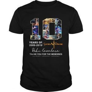10 Years of Sword Art Online 2009 2019 thank you for the memories shirt