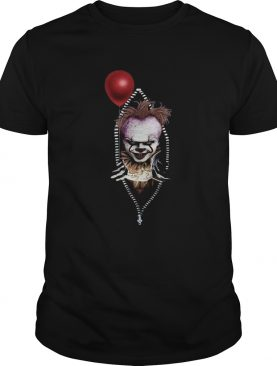 Pennywise IT in zipper pocket halloween shirt