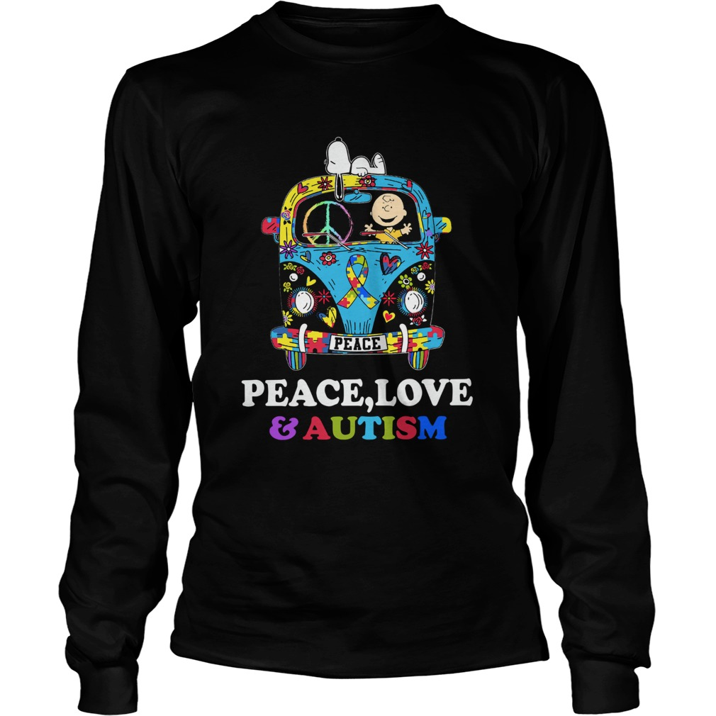 Snoopy And Charlie Brown Peace Love Autism LongSleeve