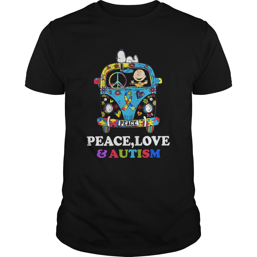 Snoopy And Charlie Brown Peace Love Autism Unisex