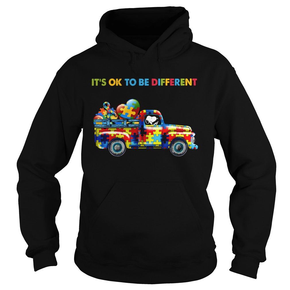 Snoopy driving Autism its ok to be different Hoodie