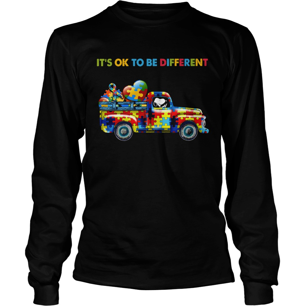 Snoopy driving Autism its ok to be different LongSleeve