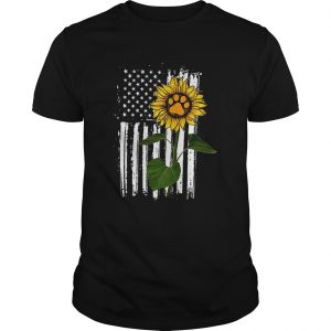 america flag sunflower paw dog shirt