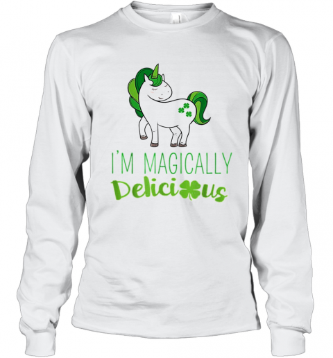 I'M Magically Delicious Unicorn St. Patrick'S Day T-Shirt Long Sleeved T-shirt