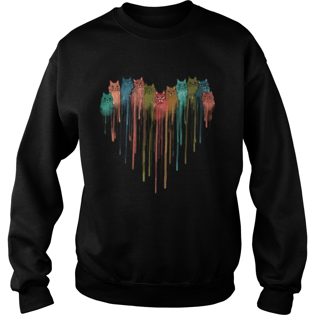 Cats Heart Watercolor  Sweatshirt