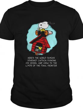 Snoopy Heres The World Famous Starship Captain Pushing His Vessel shirt