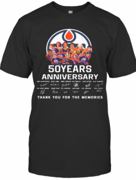 Edmonton Oilers 50 Years Anniversary Thank You For The Memories Signature T-Shirt