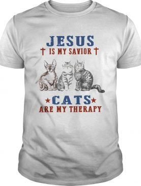 Jesus Is My Savior Cats Are My Therapy shirt
