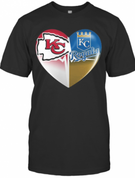 Kansas City Chiefs And Kansas City Royals Heart Heartbeat T-Shirt