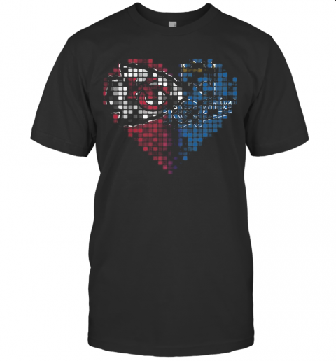Kansas City Chiefs And Kansas City Royals Heart Puzzle T-Shirt
