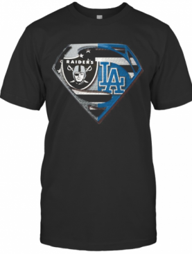Oakland Raiders And Los Angeles Dodgers Superman T-Shirt
