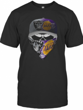 Skull Mask Oakland Raiders And Los Angeles Lakers T-Shirt