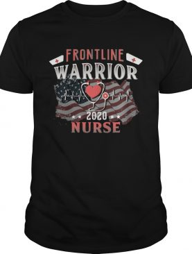 Frontline Warrior Nurse 2020 Ear Piece American Flag Independence Day shirt