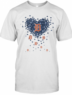 Love Detroit Tigers Hearts T-Shirt