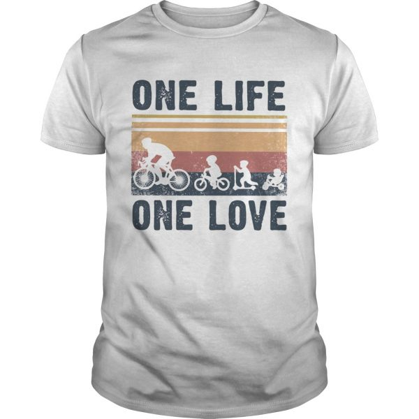 One Life One Love Bike Bikecil Vintage Retro shirt