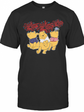 Pooh Firework American Flag Independence Day T-Shirt