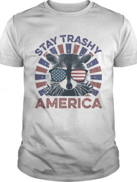 Raccoon stay trashy america flag independence day shirt