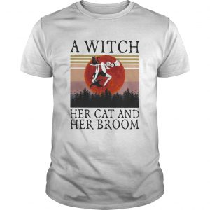 A witch her cat and her broom vintage retro shirt