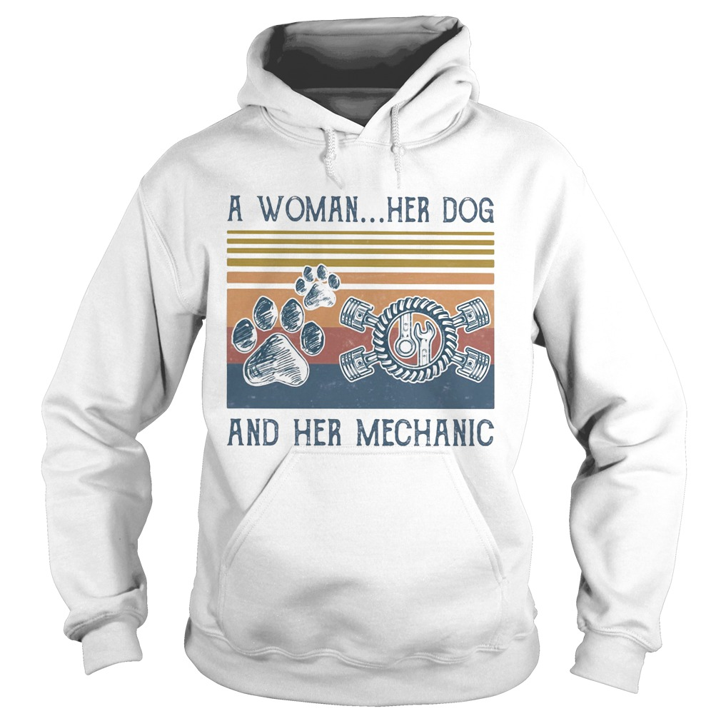 A woman her paw dog and her mechanic vintage retro  Hoodie