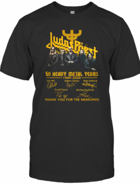 Judas Priest 50 Heavy Metal Years 1969 2020 Thank You For The Memories Signatures T-Shirt