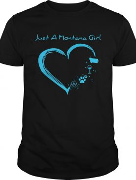 Just A Montana Girl Flip Flops Paw Dog Wine and Camping shirt