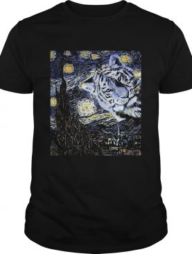 Tiger Sky Tree House Blue Yellow White shirt
