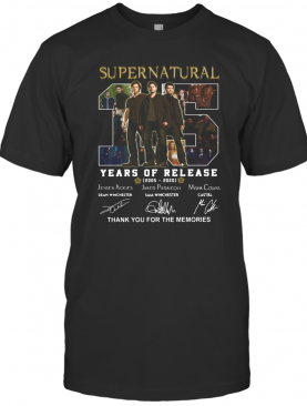 Supernatural 15 Years Of Release 2005 2021 Signatures Thank You For The Memories T-Shirt