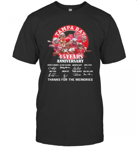 Tampa Bay Buccaneers 45 Years Anniversary Thank You For The Memories Signatures T-Shirt