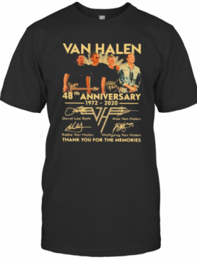 Van Halen Band 48Th Anniversary 1972 2020 Thank You For The Memories Signatures T-Shirt