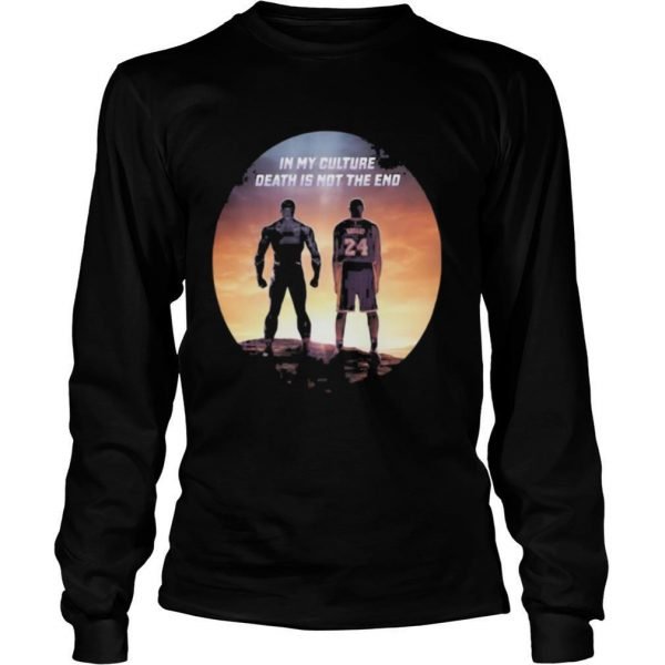 Black panther rip chadwick kobe bryant in my culture death is not the end sunset shirt