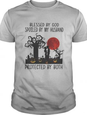 Blessed By God Spoiled By My Husband Protected By Both Pumpkin Halloween shirt