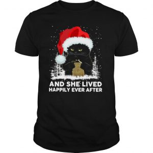 Black Cat And She Lived Happily Ever After Christmas shirt