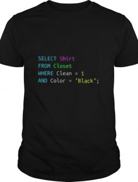 Select from closet where clean 1 and color black shirt