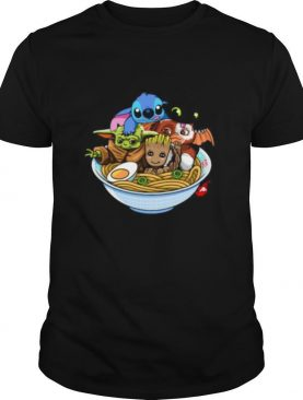 Stitch toothless baby yoda and baby groot in noodle shirt