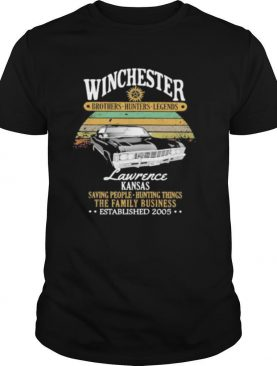 Winchester brothers hunters legends lawrence kansas saving people hunting things the family business vintage retro shirt