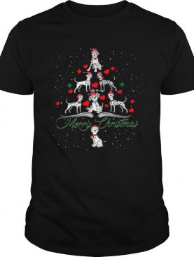 Dalmatian Dog Cartoon Merry Christmas Tree shirt
