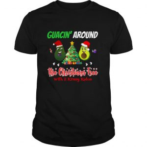 Guacin around the Christmas tree with 2KK shirt