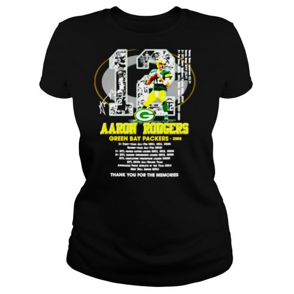 12 Aaron Rodgers Green Bay Packers thank you for the memories signature shirt