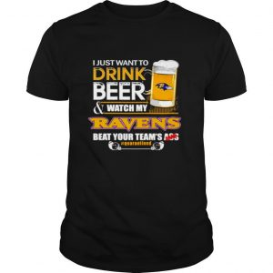 I just want to drink beer and watch my Baltimore Ravens beat your teams ass shirt